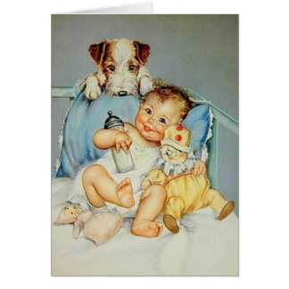 Tarjeta de felicitación retra del bebé y del perri