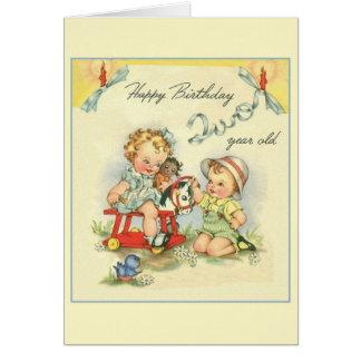 Tarjeta de felicitación retra del cumpleaños de do