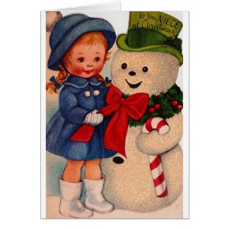 Tarjeta de felicitación retra del navidad para la