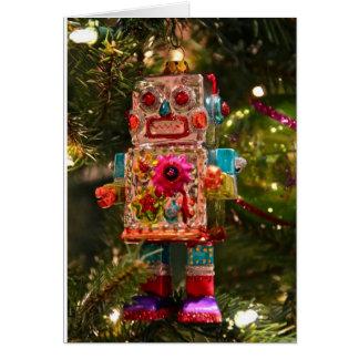 Tarjeta de felicitación retra del robot