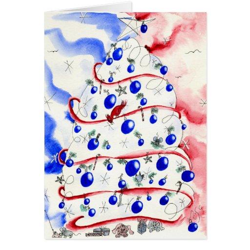 Tarjeta de felicitación roja, blanca y azul del na