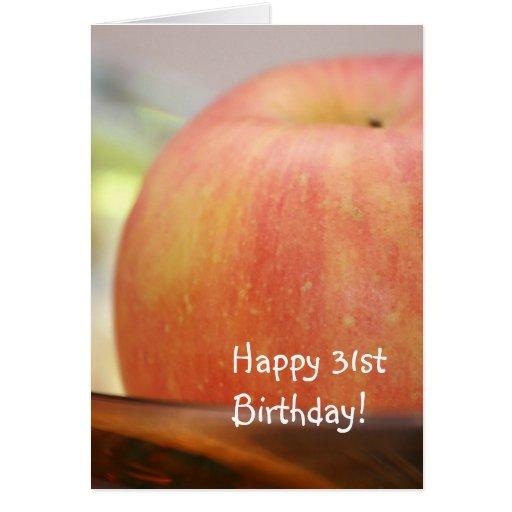 Tarjeta de felicitación roja de Apple del 31ro cum