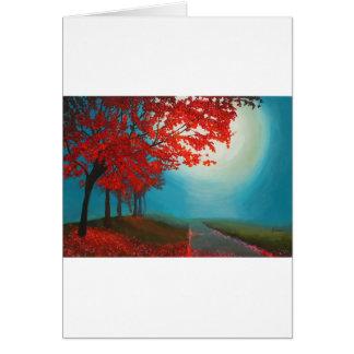 Tarjeta de felicitación roja de las hojas de otoño