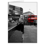Tarjeta de felicitación roja del autobús de Londre