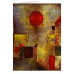 Tarjeta de felicitación roja del globo de Paul Kle