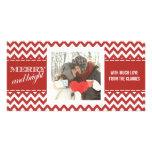 Tarjeta de felicitación roja feliz y brillante de  tarjeta fotográfica personalizada
