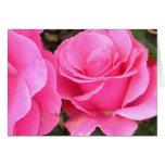 Tarjeta de felicitación rosada de dos rosas