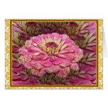 Tarjeta de felicitación rosada de la flor del Zinn
