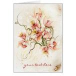 Tarjeta de felicitación rosada de la orquídea