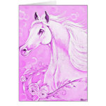 Tarjeta de felicitación rosada del caballo