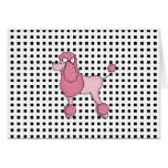 Tarjeta de felicitación rosada del caniche de