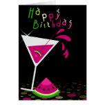 Tarjeta de felicitación rosada del cóctel de Marti