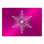 Tarjeta de felicitación rosada del copo de nieve d