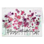 Tarjeta de felicitación rosada del cumpleaños de W