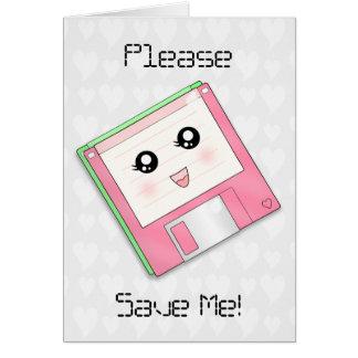 Tarjeta de felicitación rosada del disquete