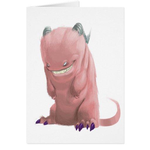 Tarjeta de felicitación rosada del monstruo del ca
