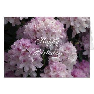 Tarjeta de felicitación rosada del rododendro