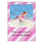 Tarjeta de felicitación rosada patinadora del navi