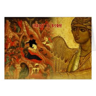Tarjeta de felicitación rusa del navidad del ángel
