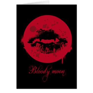 Tarjeta de felicitación sangrienta de la luna