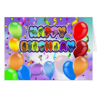 Tarjeta de felicitación sorda del feliz cumpleaños