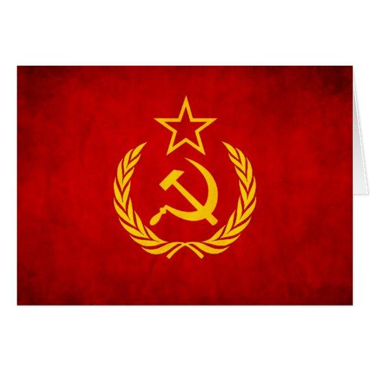 Tarjeta de felicitación soviética de la bandera