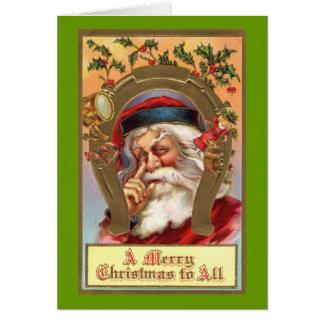 Tarjeta de felicitación tradicional de Papá Noel