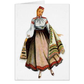 Tarjeta de felicitación tradicional letona del