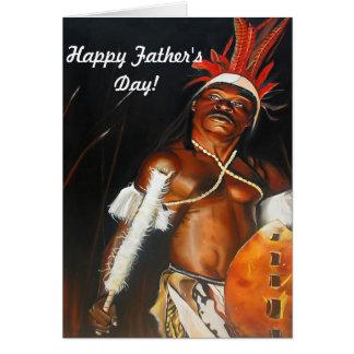Tarjeta de felicitación tribal del guerrero del Zu