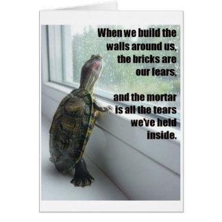 Tarjeta de felicitación triste de la tortuga del i