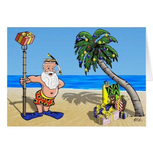 Tarjeta de felicitación tropical de Santa