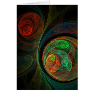 Tarjeta de felicitación verde del arte abstracto d