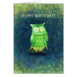 Tarjeta de felicitación verde del búho (personaliz