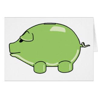 Tarjeta de felicitación verde del cerdo