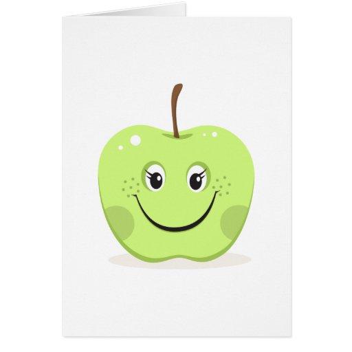 Tarjeta de felicitación verde del chica del dibujo