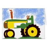 Tarjeta de felicitación verde del tractor