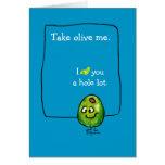 Tarjeta de felicitación verde oliva del amor del d