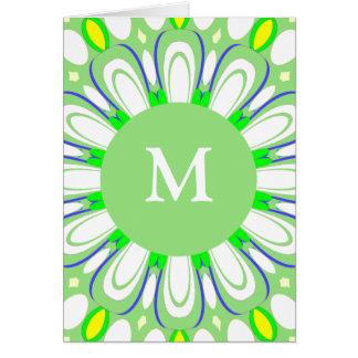 Tarjeta de felicitación verde y blanca retra bonit