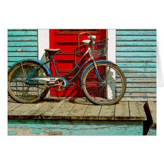 Tarjeta de felicitación vieja de la bicicleta