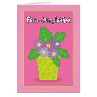 Tarjeta de felicitación violeta púrpura de Feliz C
