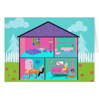 Tarjeta de felicitación viva retra del Dollhouse