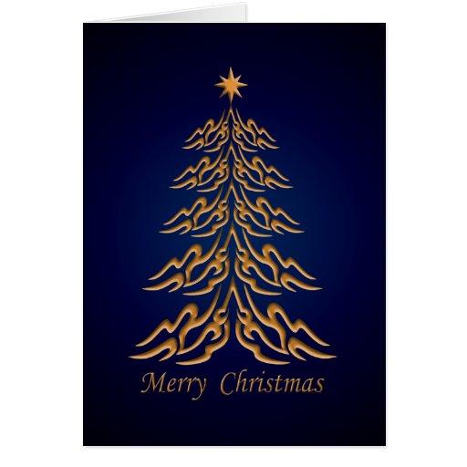 Tarjeta de felicitaciones azul del árbol de navida