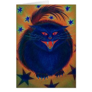 Tarjeta de felicitaciones azul del gato asustadizo