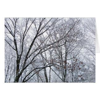 Tarjeta de felicitaciones de la estación nevada