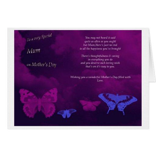 Tarjeta de felicitaciones de la mariposa del día d