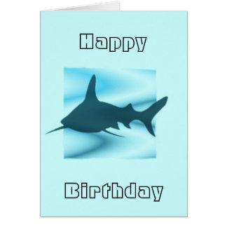 Tarjeta de felicitaciones de la silueta del tiburó