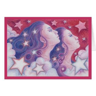 Tarjeta de felicitaciones de los géminis del zodia