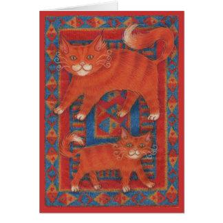 Tarjeta de felicitaciones en blanco de los gatos d