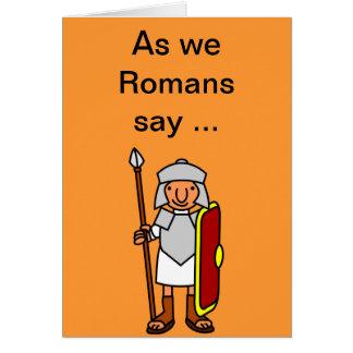 Tarjeta de felicitaciones romana del feliz