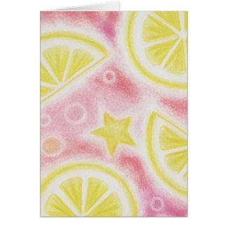 """Tarjeta de felicitaciones rosada de los """"limones"""""""